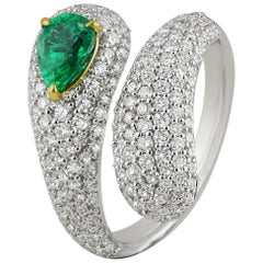 Studio Rêves Diamond Twirling Dome Ring with Emerald Pear in 18 Karat Gold