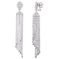 Studio Rêves Diamond Waterfall Dangling Earrings in 18 Karat White Gold