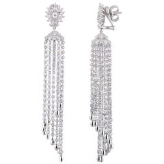 Studio Rêves Diamond Waterfall Dangling Earrings in 18 Karat White Gold