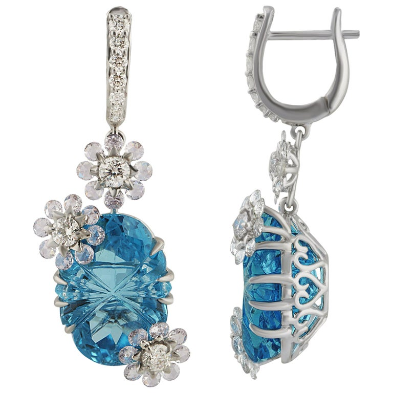 Studio Rêves Diamond with Blue Topaz Floral Dangling Earrings in 18 Karat Gold