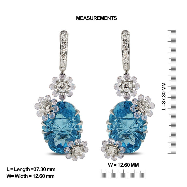 Contemporary Studio Rêves Diamond with Blue Topaz Floral Dangling Earrings in 18 Karat Gold