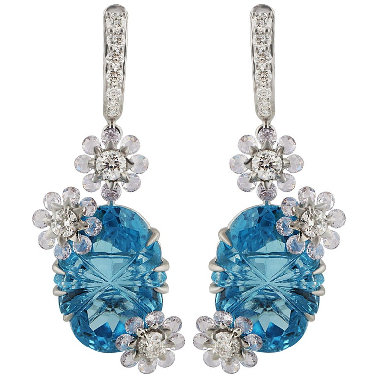 Rose Cut Studio Rêves Diamond with Blue Topaz Floral Dangling Earrings in 18 Karat Gold
