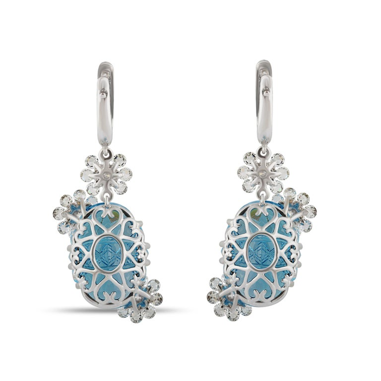 Women's Studio Rêves Diamond with Blue Topaz Floral Dangling Earrings in 18 Karat Gold