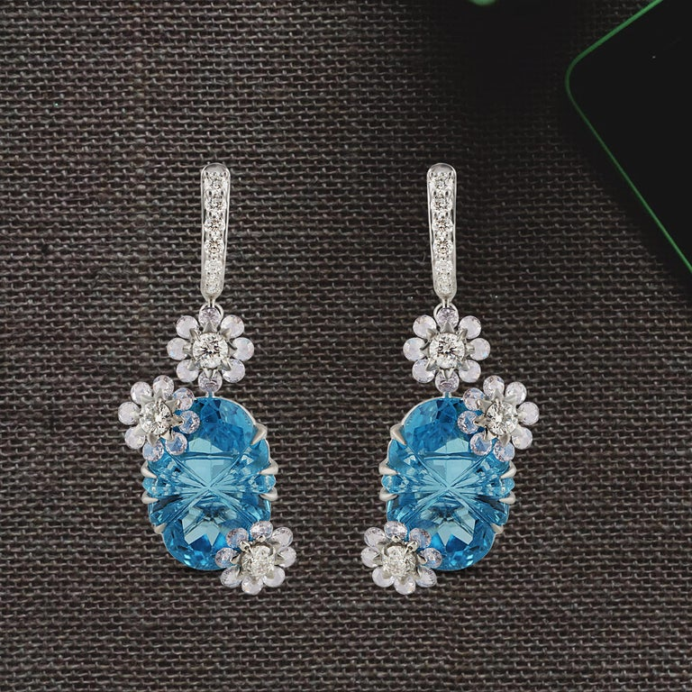 Studio Rêves Diamond with Blue Topaz Floral Dangling Earrings in 18 Karat Gold 1
