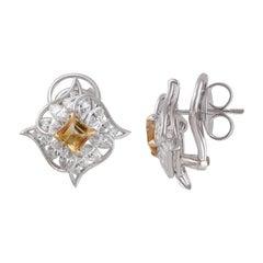 Studio Rêves Diamond with Citrine Stud Earrings in 18 Karat Gold