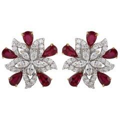 Studio Rêves Diamond with Ruby Floral Stud Earrings in 18 Karat Gold