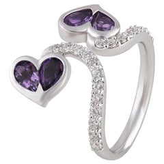 Studio Rêves Diamonds and Amethysts Two Hearts Open Band Ring in 18 Karat Gold
