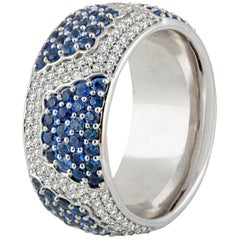 Studio Rêves Diamonds and Blue Sapphire Band Ring in 18 Karat Gold