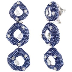 Studio Rêves Diamonds and Blue Sapphire Circular Dangling Earrings in 18K Gold