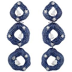 Studio Rêves Diamonds and Blue Sapphire Dangling Earrings in 18 Karat White Gold