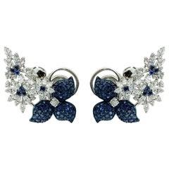 Studio Rêves Diamonds and Blue Sapphire Ear Cuffs in 18 Karat Gold