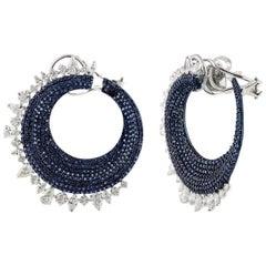 Studio Rêves Diamonds and Blue Sapphires Clip-On Earrings in 18 Karat White Gold