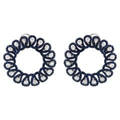 Studio Rêves Diamonds and Blue Sapphires Hoop Earrings in 18 Karat Gold