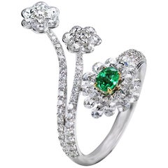 Studio Rêves Diamonds and Emerald Cocktail Cluster Ring in 18 Karat Gold