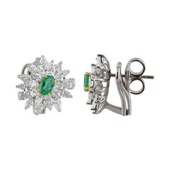 Studio Rêves Diamonds and Emerald Stud Earrings in 18 Karat Gold