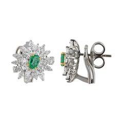 Studio Rêves Diamonds and Emerald Stud Earrings in 18 Karat Gold
