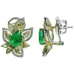 Studio Rêves Diamonds and Emeralds Clip-On Earrings in 18 Karat Gold