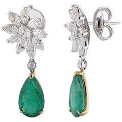 Studio Rêves Diamonds and Emeralds Floral Drop Earrings in 18 Karat Gold