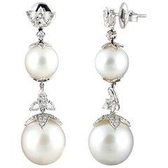Studio Rêves Diamonds and Pearls Dangling Earrings in 18 Karat Gold