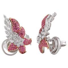 Studio Rêves Diamonds and Pink Sapphire Clip-On Earrings in 18 Karat Gold