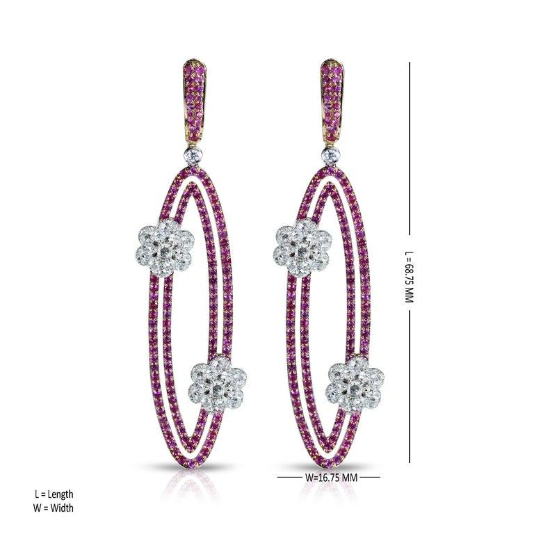 Rose Cut Studio Rêves Diamonds and Pink Sapphire Oval Dangling Earrings in 18 Karat Gold For Sale