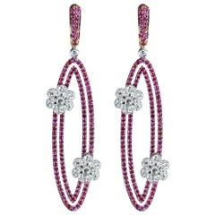 Studio Rêves Diamonds and Pink Sapphire Oval Dangling Earrings in 18 Karat Gold