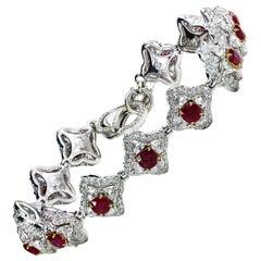 Studio Rêves Diamonds and Ruby Tennis Bracelet in 18 Karat Gold