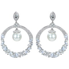 Studio Rêves Diamonds and South Sea Pearls Dangling Earrings in 18 Karat Gold