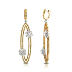 Studio Rêves Diamonds and Yellow Sapphire Oval Dangling Earrings in 18K Gold