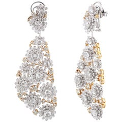 Studio Rêves Diamonds Floral Carpet Earrings in 18 Karat Gold