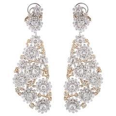 Studio Rêves Diamonds Floral Carpet Earrings in 18 Karat Gold