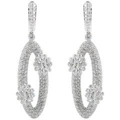 Studio Rêves Diamonds Oval Dangling Earrings in 18 Karat White Gold