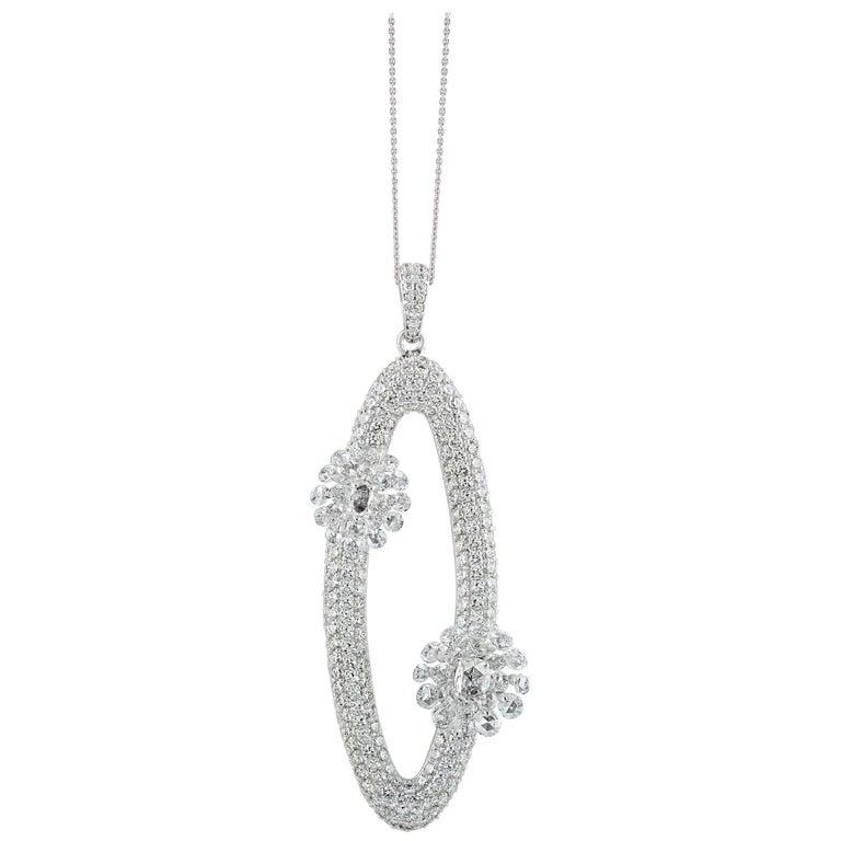 Studio Rêves Diamonds Oval Pendant Necklace in 18 Karat White Gold For Sale