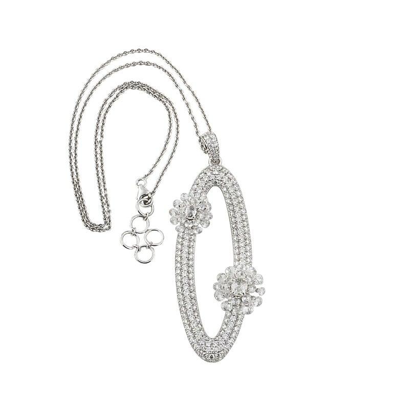 Contemporary Studio Rêves Diamonds Oval Pendant Necklace in 18 Karat White Gold For Sale