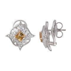 Studio Rêves Edgy Diamond and Citrine Stud Earrings in 18 Karat Gold