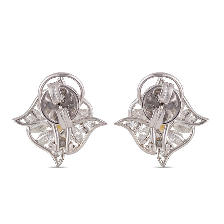 Marquise Cut Studio Rêves Edgy Diamond and Citrine Stud Earrings in 18 Karat Gold For Sale