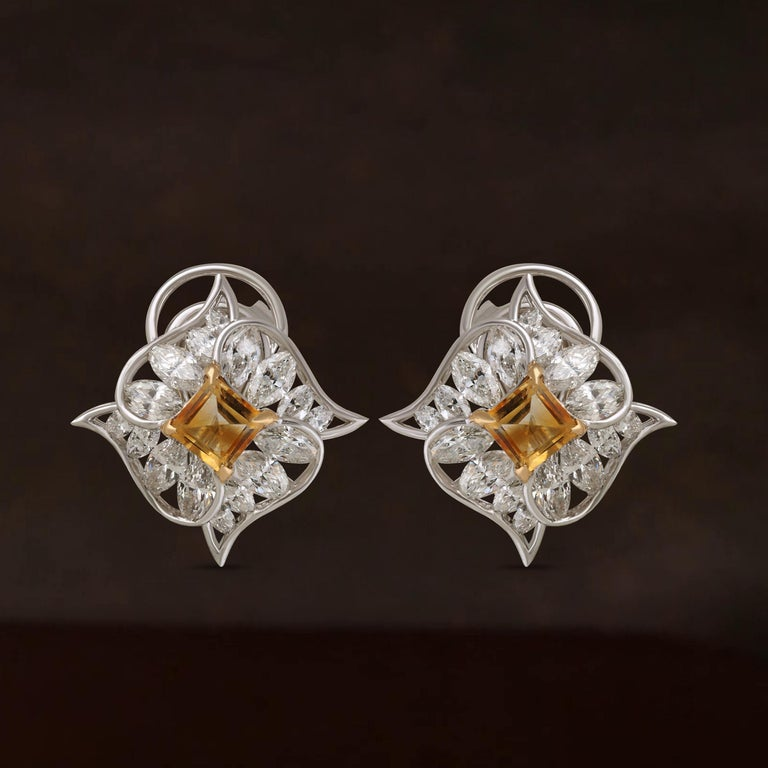 Women's Studio Rêves Edgy Diamond and Citrine Stud Earrings in 18 Karat Gold For Sale