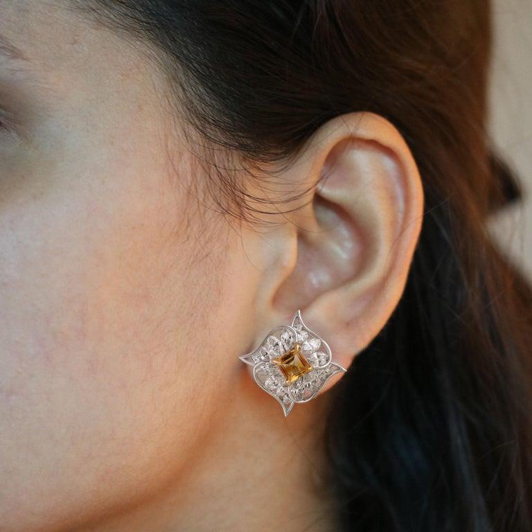 Studio Rêves Edgy Diamond and Citrine Stud Earrings in 18 Karat Gold For Sale 1