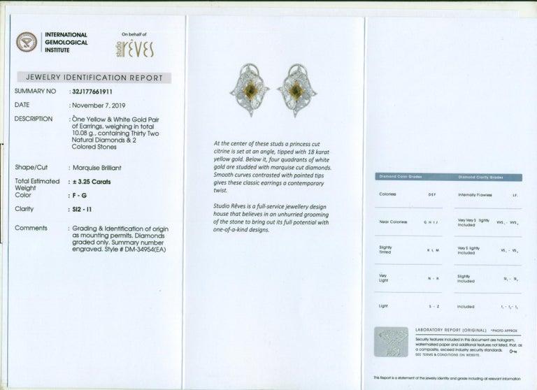 Studio Rêves Edgy Diamond and Citrine Stud Earrings in 18 Karat Gold For Sale 2