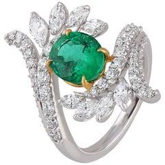 Studio Rêves Emerald and Brilliant Cut Diamond Fashion Ring in 18 Karat Gold