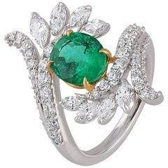 Studio Rêves Emerald and Diamond Ring in 18 Karat Gold