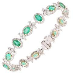 Studio Rêves Emerald and Diamond Tennis Bracelet in 18 Karat Gold