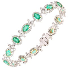 Studio Rêves Emerald and Diamond Tennis Bracelet in 18 Karat Gold