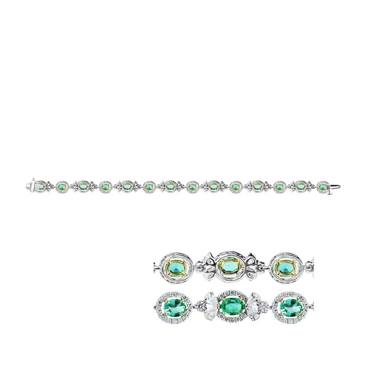 Diamond and emerald bracelet  A darling bracelet crafted using 18K white gold and studded with pear and round brilliant cut diamonds and emeralds, set in a prong setting is an heirloom-worthy collectible. This is the kind of design that will become