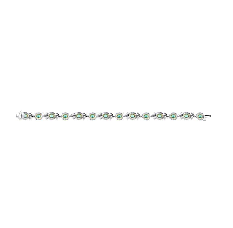 Round Cut Studio Rêves Emerald and Diamond Tennis Bracelet in 18 Karat Gold For Sale