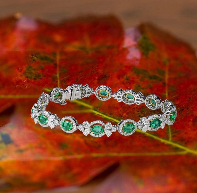 Women's Studio Rêves Emerald and Diamond Tennis Bracelet in 18 Karat Gold For Sale