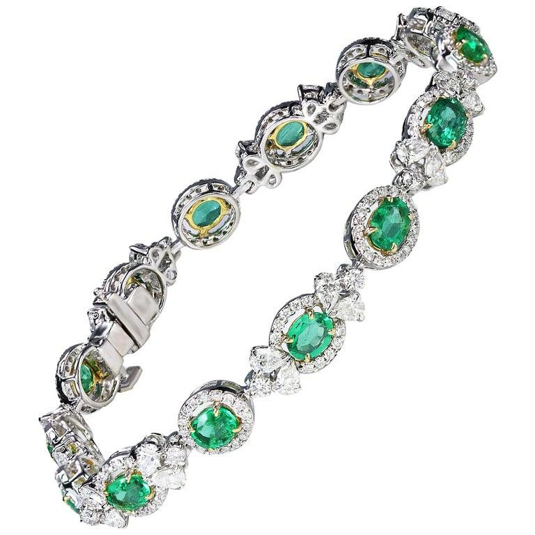Studio Rêves Emerald and Diamond Tennis Bracelet in 18 Karat Gold For Sale