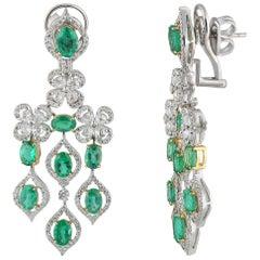 Studio Rêves Emerald and Diamonds Dangling Earrings in 18 Karat Gold