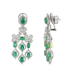 Studio Rêves Emerald and Diamonds Dangling Earrings in 18 Karat Gold