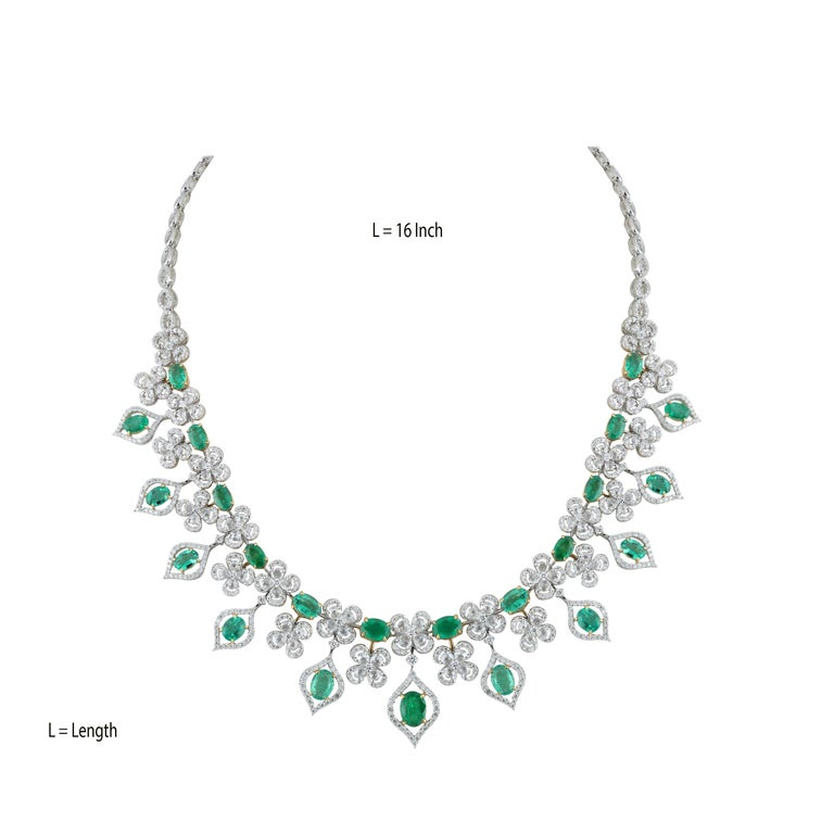 Oval Cut Studio Rêves Emerald and Diamonds Necklace in 18 Karat Gold For Sale